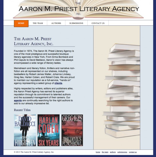 web design & development for The Aaron M. Priest Literary Agency