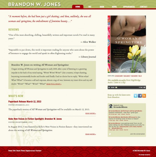 web design & development for Brandon W. Jones