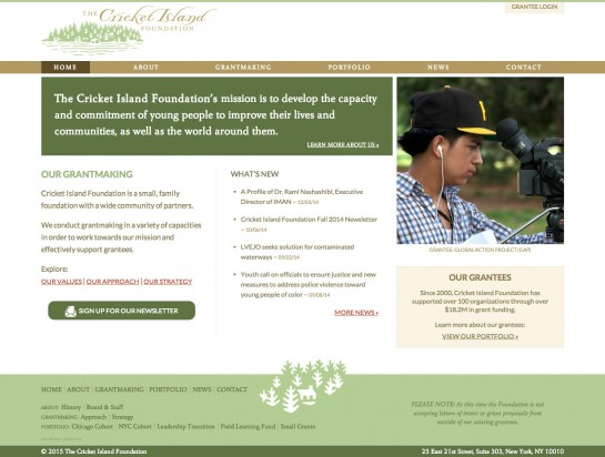 web design & development for The Cricket Island Foundation