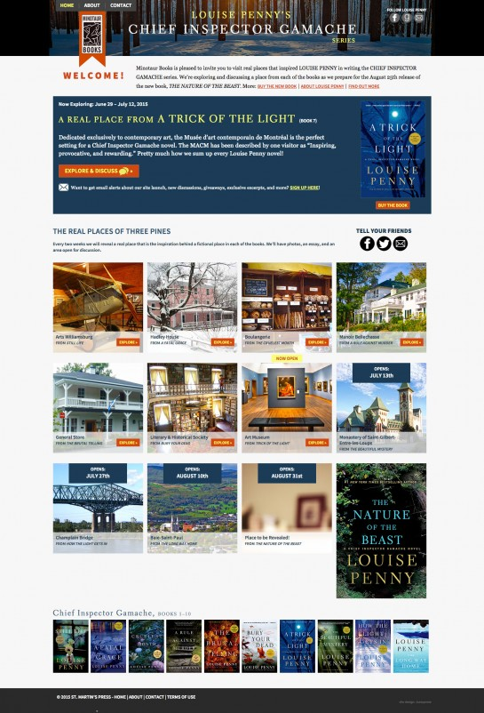 web design & development for Louise Penny's Chief Inspector Gamache Re-Read