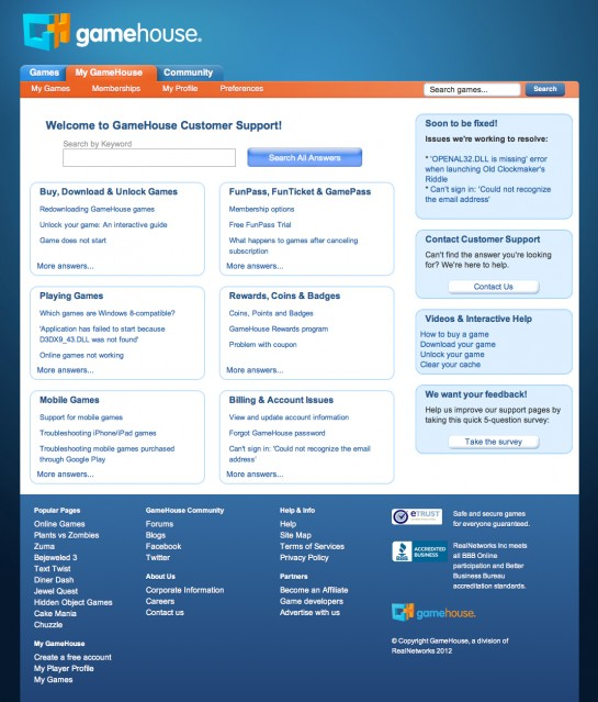 web design & development for GameHouse Customer Support