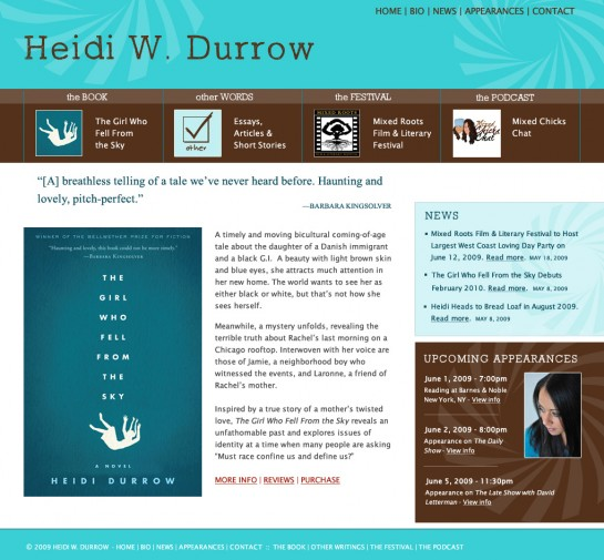 web design & development for Heidi W. Durrow