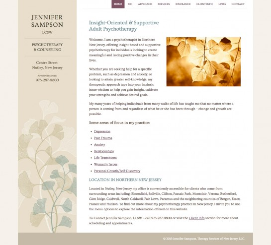 web design & development for Jennifer Sampson