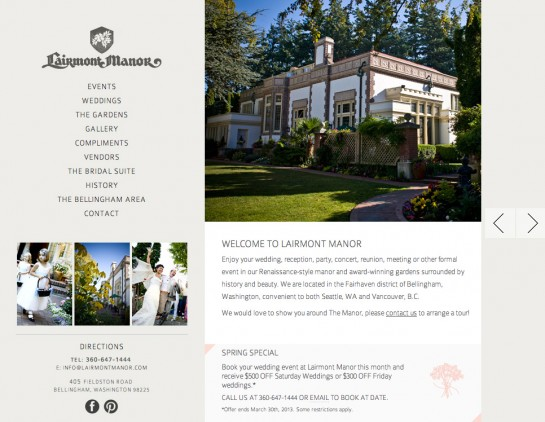web design & development for Lairmont Manor