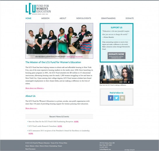 web design & development for LCU Fund for Women's Education