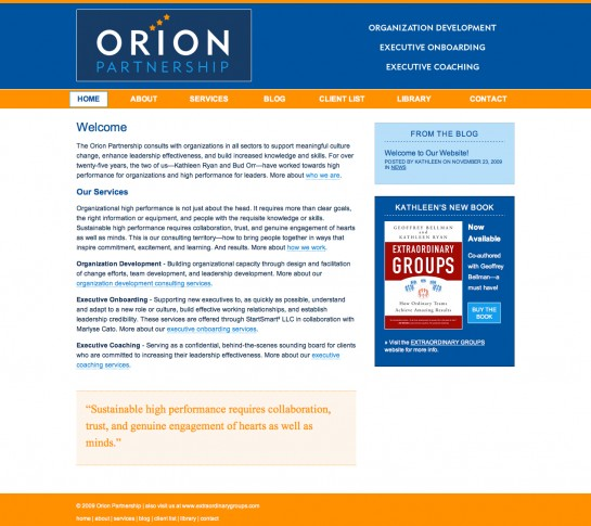 web design & development for Orion Partnership