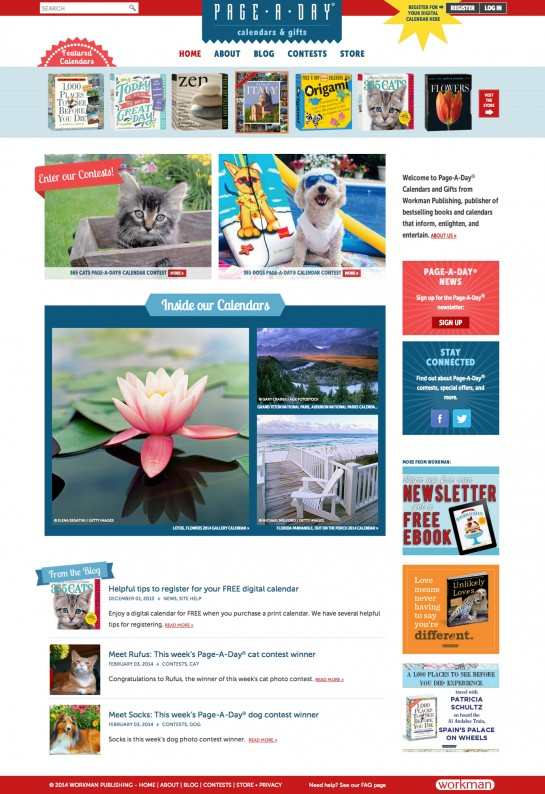 web design & development for Page-A-Day Calendars and Gifts